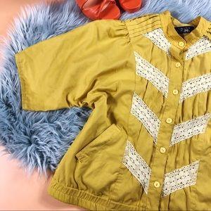 Vtg 90s Mustard Lace Oversized Button Blouse LG